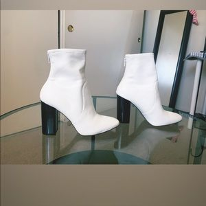 White heel booties